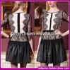 Preiswertes Form-Auslegung-reizvolles schwarzes Spitze-Oberseiten-Leder-langes Hülsen-Verband-Kleid 2015 (DFS01)