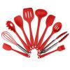 Couleur noire rouge de 10 de partie d'Amazone de silicones de cuisine ustensiles de cuisine anti-caloriques en gros de couteaux