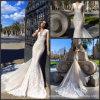 Robes de mariage de V-Collet de robes nuptiales de lacet de sirène Au342