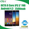 ROM 4G IPS 5inch Octa Mtk6572 Android Mobile Phone do córtice A7 Dual Cores 1.7GHz Android 4.3