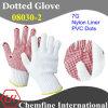 7g белый нейлон трикотажные перчатки с красной ПВХ Dots
