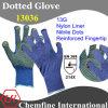 13G Синий нейлон трикотажные перчатки с желтыми нитрил Dots & усиленное пальца / EN388: 214X