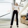 Die schwarzen/Blau Damen erweitert sich dünne Hosen, beiläufige Baumwolle keucht (025)