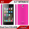 Dual core 1.3GHz 4.0inch Android du prix bas Mtk6572 4.2 A3 Smartphone