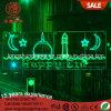 Estrelas do diodo emissor de luz e Eid crescente através da luz de rua para decorações de Ramadan