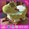 2017 bebé al por mayor de madera del caballo mecedora de Hipona, nuevos cabritos del diseño de dibujos animados de animales de madera del caballo mecedora Hipopótamo con música W16D105