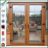 Double en bois fait sur commande de porte française glacé pour l'extérieur