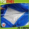 Tissu résistant de bâche de protection de PE couleur blanche/bleue