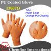 13G оранжевый нейлон трикотажные перчатки с Оранжевый PU гладкое покрытие