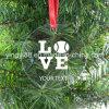 Ornamenten van Kerstmis van de Verkoop van de fabriek de Directe Duidelijke Acryl met Éénzijdige Gravure