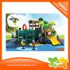 Diapositiva que curva plástica del tren del equipo al aire libre verde de la diversión para los niños