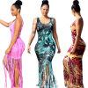Les femmes Sexy Hot vendre européen de l'usure du souhait d'impression de la flamme Tassel jupe Robe de plage