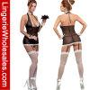 女性のための網およびレースのトリムのホールターのガーターのBustier衣裳のセクシーなランジェリー