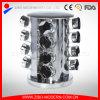 Cremagliera di spezia di giro del metallo domestico con 16 vasi di vetro della spezia