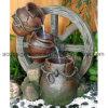 De Emmer van de Stijl van het dorp Fontein van het Water Polyresin van de Tuin van Drie Laag de Decoratieve Openlucht met LEIDEN Licht