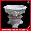 Witte Marmer Gesneden Marmeren Bloempot voor de Decoratie van de Tuin