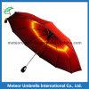 Regalo amarillo Sun del doblez de la tela escocesa 3 de la manera/paraguas compacto de la lluvia