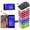 ソニーXperia Z3 Z3 CompactのためのHorse狂気のID Card Holder Slots Stand Book Magnet Mobile Phone Wallet Flip Leather箱Cover