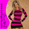 Striped Evening Dress 20038-Black с Rose