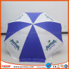 Impression blanche et bleue annonçant le parapluie