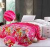 100% poliéster Flores de microfibras de luxo flanela impresso cobertores