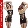 Frauenschwarzes Fishnet-Kleid reizvolles Bodystocking