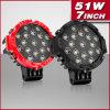 IP68 Waterproof Spot/Flood Red und Black 51W Offroad LED Spot Light Headlight (PD651)