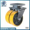 12  gelbe Eisen-Kern-Doppeltes PU-Schwenker-Fußrollen-Räder
