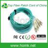 Faisceau du cordon de connexion de fibre optique de bande Om3 MPO-LC 12