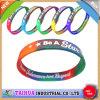 Bracelet bon marché en gros de silicones de couleur de mélange avec l'impression (TH-599)