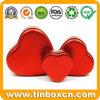 Reeksen van Drie Dozen van het Tin van de Gift van het Metaal van het Suikergoed Opslag hart-Gevormde