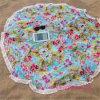Toalla 100% de playa impresa redonda del algodón de la venta al por mayor con las borlas