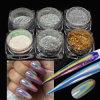 Unicorn голографических хромированные зеркала заднего вида лазерной Rainbow лак для ногтей гелем польский пигмента