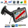 Venda a quente 5.0 Carro de mão Dash navegação GPS com sistema de Wince 6.0,ARM cortex A7, transmissor FM, AV-na câmara traseira, o GPS Navigator,player de MP3,dispositivo de rastreamento
