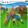 New Design Plastic with Wooden Slide Children Playground (H14-0879)