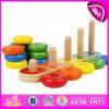 2015 giocattoli d'istruzione di Montessori di nuovo arrivo, giocattolo d'impilamento di legno del giocattolo educativo, lo sviluppo d'impilamento poco costoso del cervello del bambino gioca W13D063