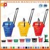 Panier à provisions en plastique de Comercial de qualité avec 2 roues (Zhb137)