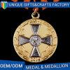 De DwarsMedaille van de Legering van het zink met de Medaille van het Metaal van het Koper van de Douane van het Lint