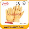 De gele Handschoenen van het Werk van de Veiligheid van de Winter van het Leer van de Bestuurder van de Korrel van de Zweep Industriële (12304)