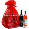 Riesiger roter blosser Organza-Wein-Beutel