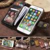 Cas en cuir de couverture de chiquenaude de pochette de carte magnétique d'unité centrale de rétro couleur pour la note 8 S8 S7/iPhone X de Samsung