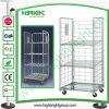 Chariot logistique en acier à cage de roulis en métal de blanchisserie avec deux étagères