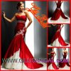 Hot Fashion Strapless Applique Taffeta Chapel Tain Mermaid Bridal Wedding Dresses 1112
