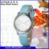 Montre-bracelet occasionnelle de dames de quartz de courroie en cuir (Wy-078A)