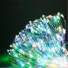 Lámpara caliente accionada solar de la luz de hadas de la cadena del alambre de cobre 120LED LED del blanco el 12m