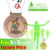 Медаль тесемки спорта высокого качества изготовленный на заказ бронзовое идущее