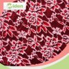 Algodón del cordón y tela netos rojos brillantes del cordón del bordado del nilón