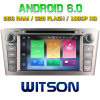 Witson Octa-Core (Eight Core) DVD de voiture Android 6.0 pour Toyota Avensis 2005-2007 2g ROM 1080P Touch Screen 32GB ROM (B5587)