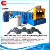 Um deck de metal máquina de formação de rolos da plataforma do piso