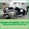 Софа кожи мебели высокого качества самомоднейшая деревянная угловойая